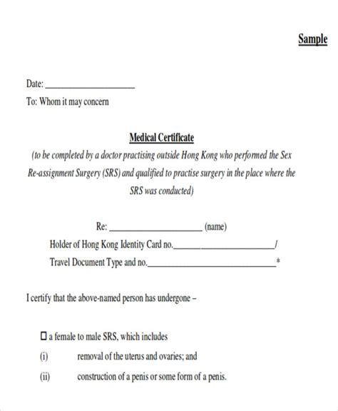 sle medical certificate formats 13 exles in pdf word