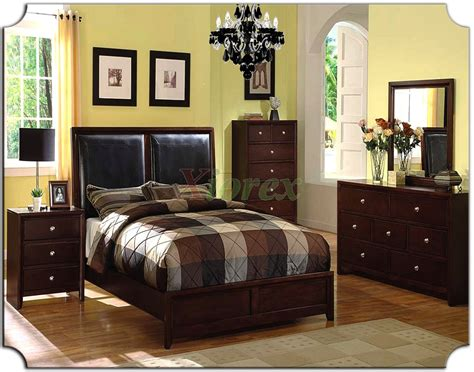 bedroom furniture set with leather panel headboard beds