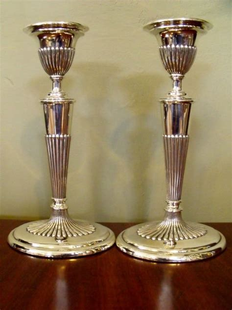 silver candlestick by loofs adam pair of adam style silver candlesticks 219680