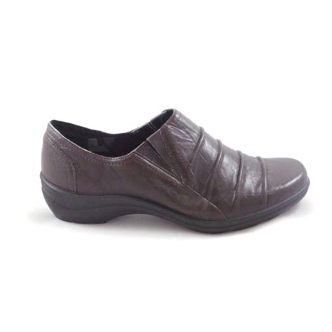 romika 16 brown leather slip on casual shoe