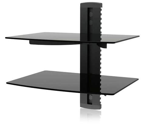 2 shelf glass black led plasma tv wall mount shelf bracket