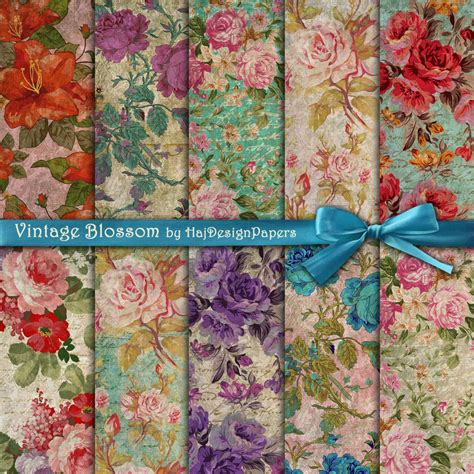 Retro Decoupage Paper - vintage blossom digital collage sheet digital paper