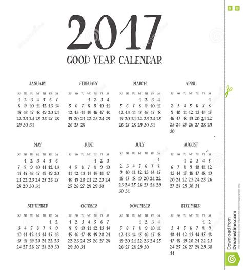 2017 Calendar On 1 Page One Page Calendar 2017 With Lettering Months Stock
