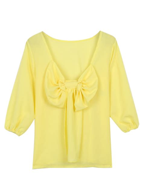Bow Sleeve Chiffon Top yellow bow back chiffon sleeve blouse choies