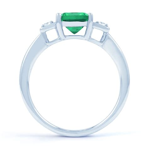 18ct white gold emerald engagement ring 0 1ct 2