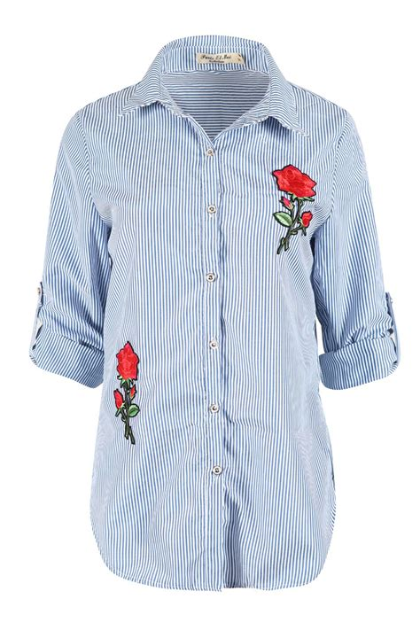 womens embroidered floral striped shirt
