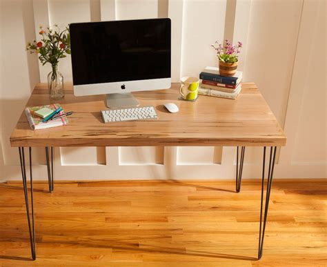 Modern Desk Legs Buy A Handmade Mid Century Modern Desk Featuring An Ambrosia Maple Wood Top With Hairpin Legs