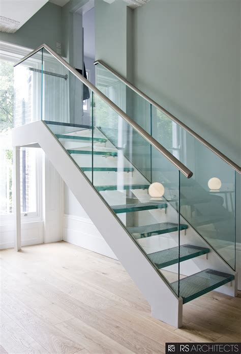 glass stair banisters picturesque double chrome handrail with glass balustrade