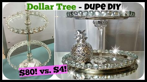 Dollar Store Home Decor Ideas Dollar Tree Diy Home Decor Dupe 2 Tiered Tray Stand Glam