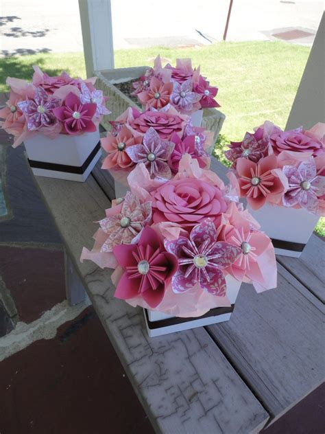 Origami Centerpieces Wedding - origami paper flower centerpiece set of 5 kusudama pink