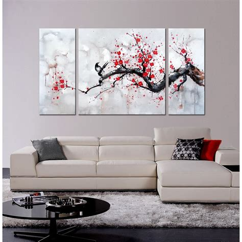 3 canvas wall japanese inspired wall plum blossom painted canvas 3 panel framed ebay