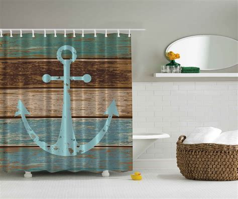 anchor bathroom blue aqua beige nautical anchor beach fabric shower