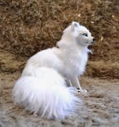 Arctic fox with blue eyes arctic fox poseable art doll