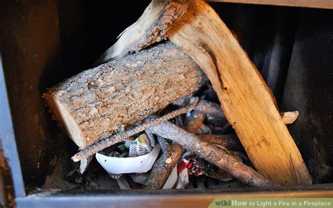 How To Stack Wood In Fireplace by How To Light A In A Fireplace With Pictures Wikihow