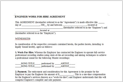 Work For Hire Agreement Template 28 Images Best Work For Hire Agreement Templates Templates Work For Hire Contract Template Free