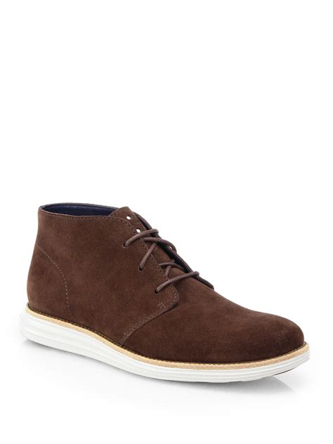 cole haan boots mens cole haan lunargrand chukka boots in brown for