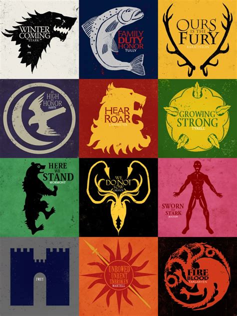 game of thrones house sigils song of ice and fire banners by nekromantics on
