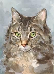 water color cat custom cat portrait watercolor painting 5x7 david