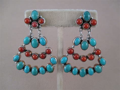 coral turquoise sterling silver earrings two grey