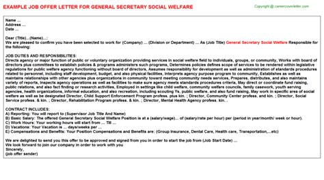 Offer Letter Sle Hr General Social Welfare Offer Letter