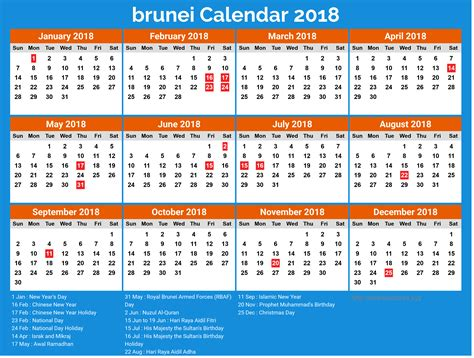 Calendar 2018 List Of Holidays Yearly Brunei Calendar 2018 With Holidays List 2018