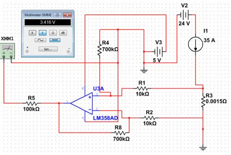 lm358 shunt resistor simulation not matching reality