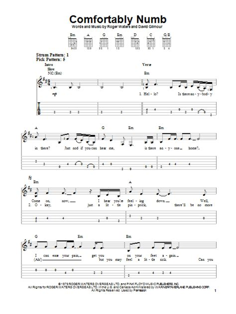 comfortably numb music comfortably numb sheet music by pink floyd easy guitar
