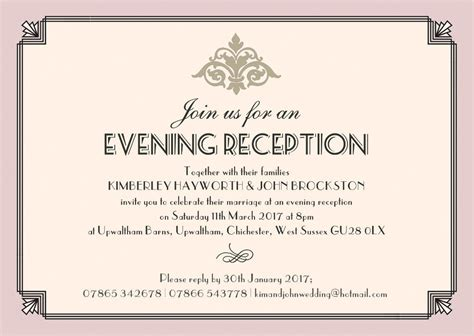 Printable Wedding Evening Invitations | pastel art deco evening reception invitation from 163 0 85 each