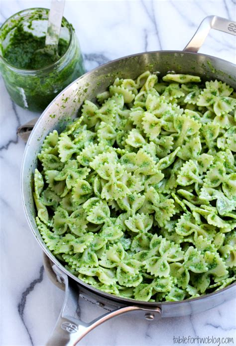 arugula pesto bowtie pasta with goat cheese table for two