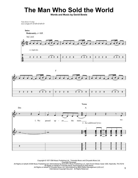 tutorial guitar the man who can t be moved the man who sold the world by nirvana easy guitar tab