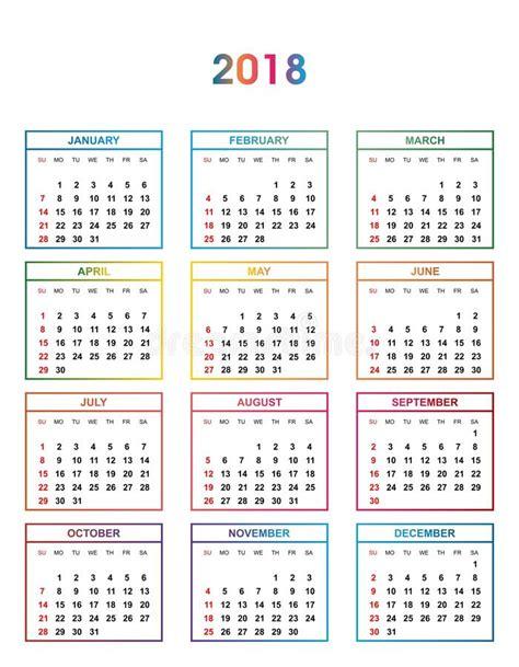 Calendario De Colombia Año 2018 Calendario Simple Color Por El A 241 O 2018 Los Nombres De