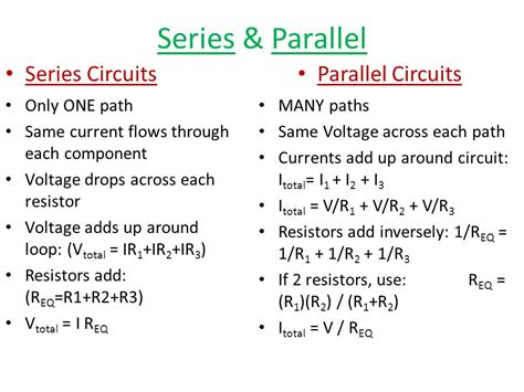 resistors in parallel same current series parallel circuits ppt