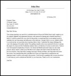 cover letter for substitute substitute cover letter exles professional