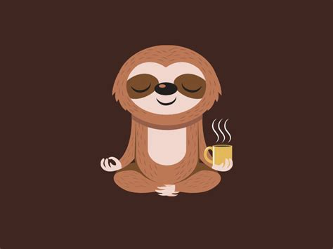 cartoon yoga wallpaper yoga sloth coffee by louis d wiyono wizmaya dribbble