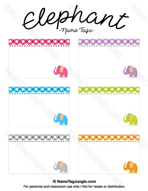 free template for name card elephant printable elephant name tags