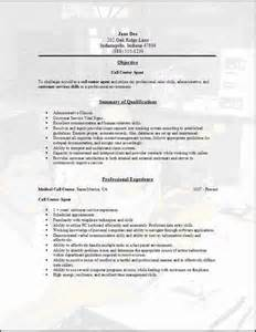 Call Center Resume Exle by Call Center Resume Occupational Exles Sles Free Edit With Word