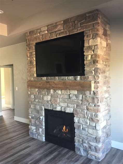 culture stone gola ledgestone fireplace surround  barn