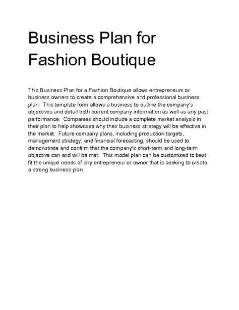 business plan clothes boutique