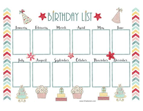 birthday list template free birthday calendar
