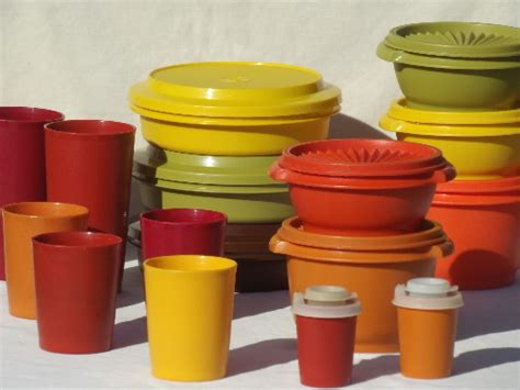Orange Kitchen Canisters Retro 70s Tupperware Containers Amp Tumblers In Harvest Gold
