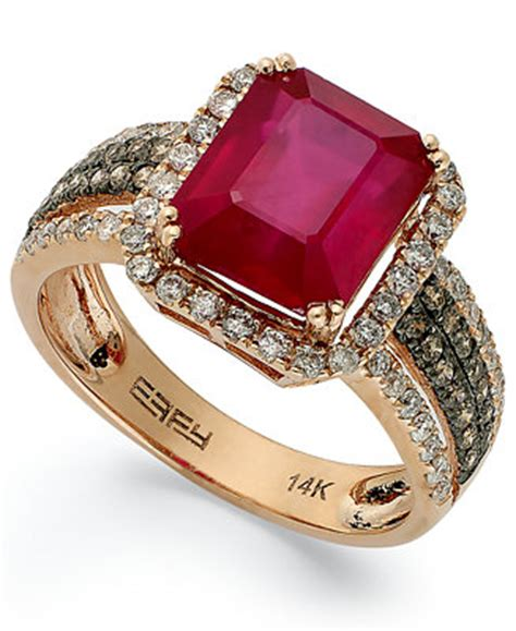 Effy Jewelry Sweepstakes - red velvet by effy ruby 3 3 4 ct t w and brown diamond 5 8 ct t w emerald cut