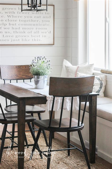 breakfast nook chairs  wood grain cottage