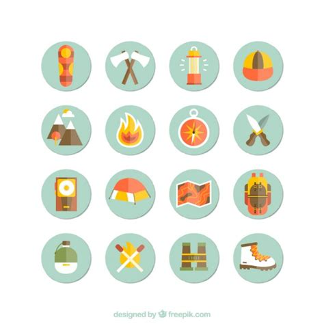 wandlen retro cing and hiking icons vector free