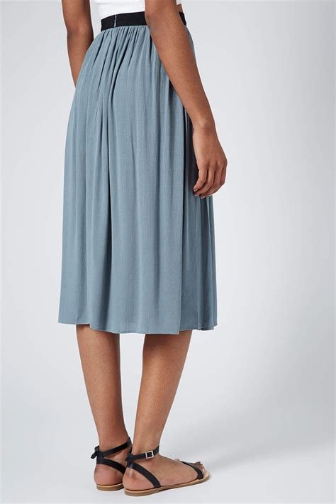 topshop womens chambray spliced midi skirt chambray in