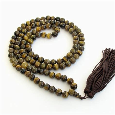 Mala Tiger Eye 8 Mm With Gold Vajra Ornament 8mm tiger eye gem rosary prayer meditation 108 japa mala necklace in charm bracelets from