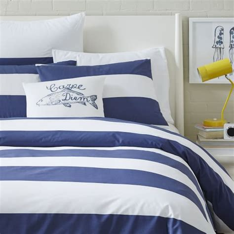 Navy White Duvet Cover Mod Stripe Duvet Cover White Dusty Navy West Elm