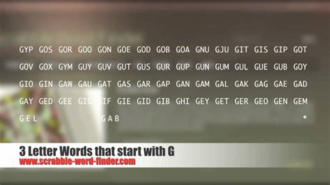4 Letter Words Out Of Daily 3 letter words that start with g