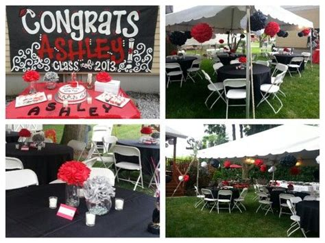 black car party in the backyard red black theme pom pom outdoor party backyard cookout