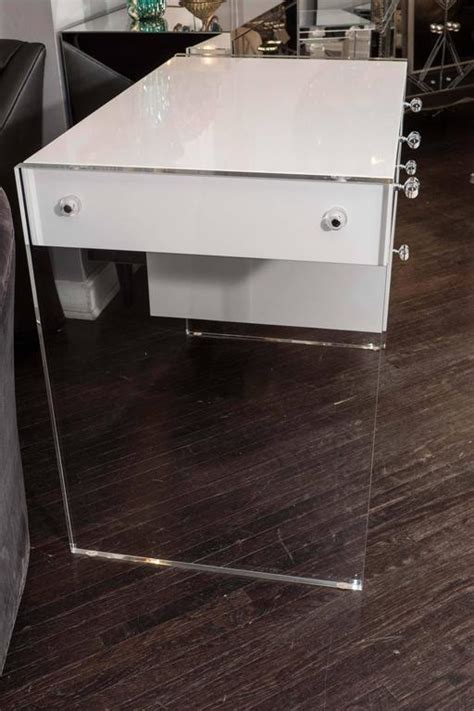 Acrylic Desk L by White High Gloss Lacquer Desk With Lucite Side Panels For Sale At 1stdibs
