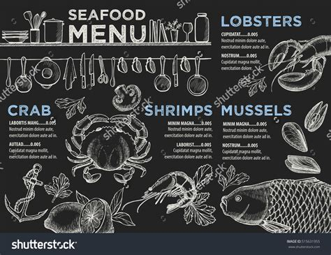 design flyers near me seafood menu placemat food restaurant brochure template